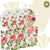 Vintage Rose edel Blumenmuster Partyset 89 Teile für 10 Personen Teller Becher Servietten Tischdecke Besteck