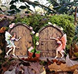 Set of 2 Sparkle Fairy Door Garden Home Ornament