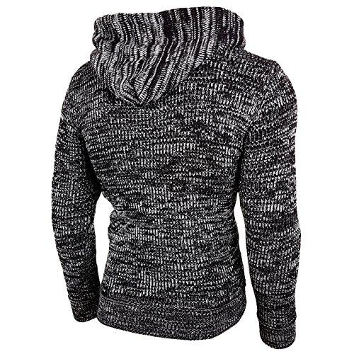 Rusty Neal Top Herren Winter Kapuzenpullover Pulli Sweatshirt Jacke RN-13277 Neu Schwarz / Grau