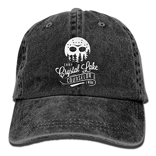 Mbefore Unisex Camp Crystal Lake Counselor Vintage Jeans Baseballmütze Klassische Baumwolle Papa Hut Einstellbare Plain Cap
