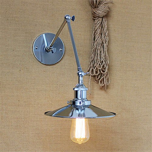 Modernes, minimalistisches Industrie Kreative LED-Wandleuchte mode Studie Schlafzimmer Bett Spiegel lange Arm Eisen Wandleuchte, Silber 20 +20 cm