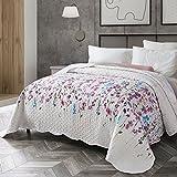 Tagesdecke mit Lila Blumen Muster 240 x 260 cm Bettüberwurf für Schlafzimmer, Moderner Hypoallergene Atmungsaktive Mikrofaser Gesteppte Decke von BEDSURE