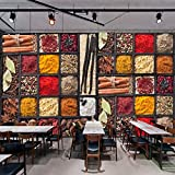 BHXINGMU Individuelle 3D-Fototapeten Gewürze Gewürze Rohstoffe Lebensmittelbilder Restaurants Küchen Hintergründe Dekorative Wandbilder 250Cm(H)×360Cm(W)