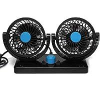 Ventilateur à double tête BestFire - Rotation à 360° - Réglable - Pour la voiture - Silencieux - 2 vitesses - 12 V…