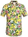 SSLR Funky Hawaiihemd Herren Freizeithemd Kurzarm Blatt Blumendruck 3D Print Reise Shirts (Small, Gelb)
