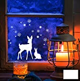 Fensterbild Wandtattoo REH Hase Schnee Sterne M1677 - ausgewählte Farbe: *Weiß* - ausgewählte Größe: *M - Maße Siehe Beschreibung*