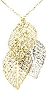 forme di Lucchetta per Donna - Orecchini o Collana con Foglie Trama Brillante in Vero Oro Giallo e Bianco
