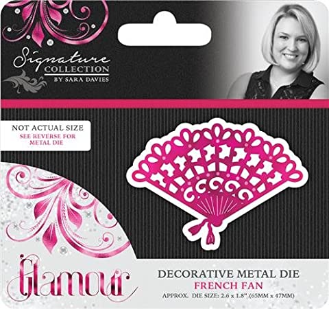 Sara Signature Glamour Metal Die French Fan, Silver