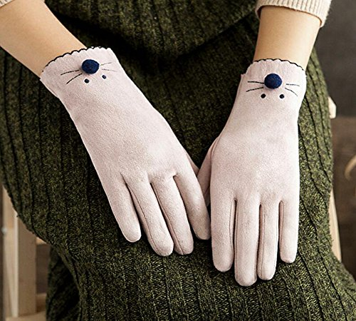 Longless Netter Schulmädchen-Touch Screen Herbst und Winter plus Samtverdickung warmes Fahren Radfahren Fingersatz Finger Handschuhe (Mädchen Fingersatz)