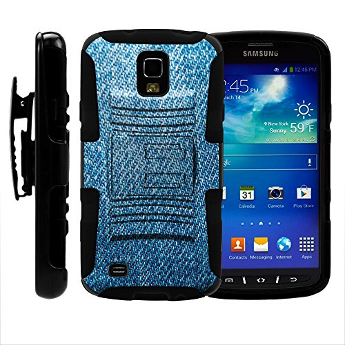 S4 Active Case / S4 Active, zweilagige Hybrid-Schutzhülle mit integriertem Ständer für Samsung Galaxy S4 IV Active I9295, SGH-I537 (AT&T) von MINITURTLE - inklusive Displayschutzfolie - Blue Jeans