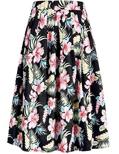 Lange Karriere Rock (SSLR Damen Elastische Taille Hawaii Blumen Shirring Casual A-Linie Midi Rock (Small, Schwarz))