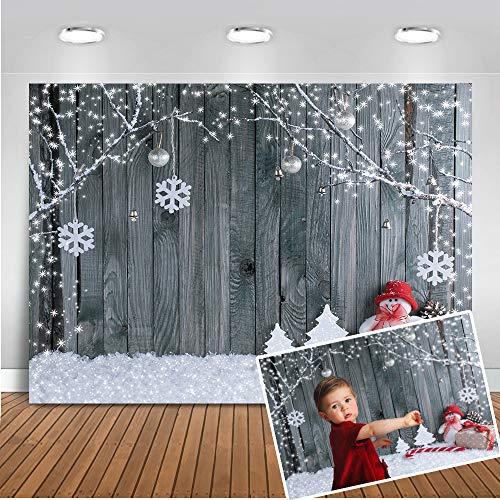 Mehofoto Weihnachten Hintergrund 7x5ft Holz Wand Schneeflocke Dekoration Foto Kulissen Nahtlose Xmas Party Winter Schneemann Fotostudio Prop