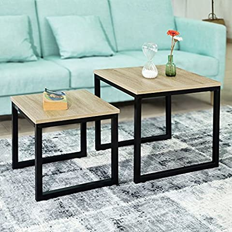 SoBuy® FBT42-N Tables Basses Gigognes - Set de 2 - Lot de 2 tables d'appoint empilables