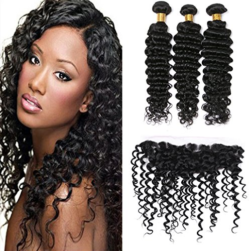 Silkylong ear to ear lace frontal with bundles free part 13x4 deep curly human brazilian hair closure prime hair extensions human hair full head for cheap 18 20 22 +14 frontal