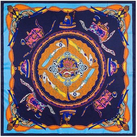AHUIOPL 100% SedaDragon Boat Imprimir Pañuelo de Cuello Cuadrado Royal Pañuelos Lady Foulard MujerBig Hijab, Azul Marino