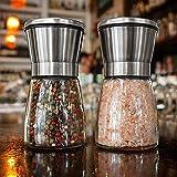 Sale di sale e pepe per sale himalayano, 2 pezzi in acciaio inox salato e pepe macinino con setola in ceramica premium per barbecue o per il partito