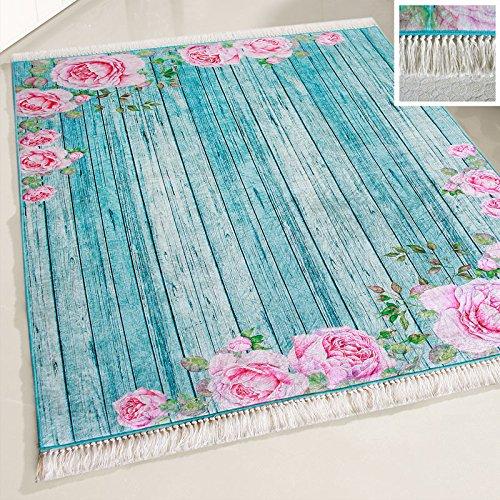 Blumen-teppich-designs (mynes Home Teppich Türkis Waschbar Shabby Chic Landhausstil Designer Teppich Küche Wohnzimmer Bad etc. Waschmaschinengeeignet Rosen Blumen Design rutschhemmend (160cm x 230cm))