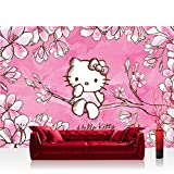 Fototapete 254x184 cm PREMIUM Wand Foto Tapete Wand Bild Papiertapete - Mädchen Tapete Hello Kitty - Kindertapete Cartoon Katze Blumen Baum Kinder pink - no. 1023