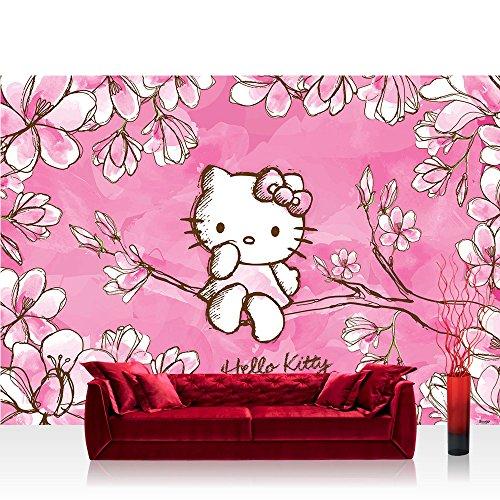 m PREMIUM Wand Foto Tapete Wand Bild Papiertapete - Mädchen Tapete Hello Kitty - Kindertapete Cartoon Katze Blumen Baum Kinder pink - no. 1023 (Hello Kitty Plus Größe)