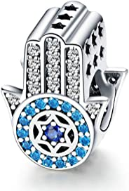 Hand of Fatima Charm for Pandora Bracelet 925 Sterling Silver Charms Good Lucky Dangle Charms Pendant with Blue Evil Eye Nec