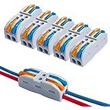 QitinDasen 15Pcs KV212 Palanca Tuerca Cable Conector, 2 en 2 fuera Bilateral 4 Puertos Compacto Conductor Conector, Rápido Ca