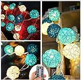 20 LED Boule de Rotin Ball Guirlandes Lumineuses Chambre Batterie Blanc Chaud Décor Pour étonnement Proposer Chambre d'enfant [Télécommande,8 Mode,Minuteur Automatique,Dimmable,Ball Diamètre:5.2cm]