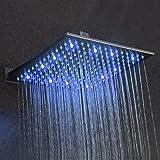 Kaibor 40×40cm Quadratische LED Luxus Regendusche Einbauduschköpfe Edelstahl 1