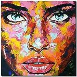 KUNST DRUCK Gemälde Leinwand modern abstrakt Bild 855 Portrait SIGNIERT 100x100