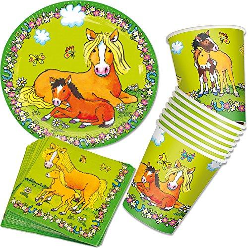 37 tlg. Party-Set * PFERD & PONY * mit Pappteller + Servietten + Pappbecher + Luftballons für Kindergeburtstag | Geschirr Party Deko Einweg Kinder (Servietten Pappteller Und)