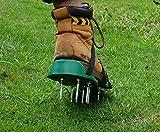 Kitclan 4 Riemen Rasenlüfter Schuhe, Rasenbelüfter Sandalen 5 cm lange Bodennägeln für Haus und Garten (1 Paar ) grün - 5