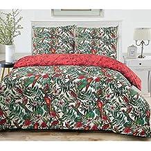 3pc Amazon Jungle aves silvestres mezcla de algodón edredón funda de edredón fundas de almohada Continental tamaño juego de cama, mezcla de algodón, 155 x 220cm