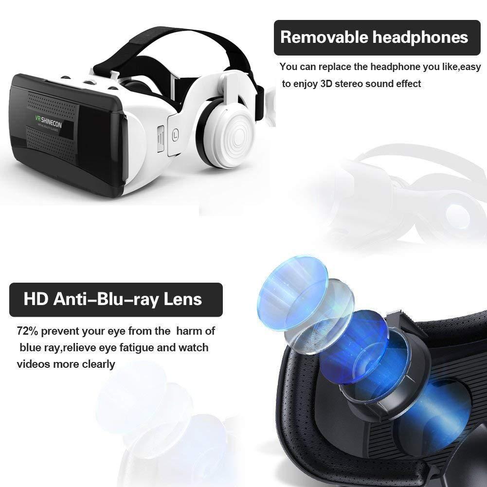 remote.S 3D VR Lunettes Casque de réalité virtuelle pour Jeux et Films Virtuelle Lunettes Casque avec Ensemble de poignée Bluetooth Autres Smartphone