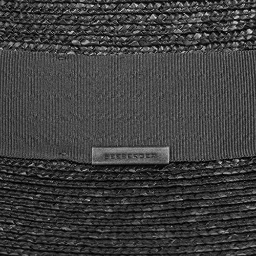 Chapeau Paille Dented Crown Seeberger chapeau de plage chapeau de paille Noir