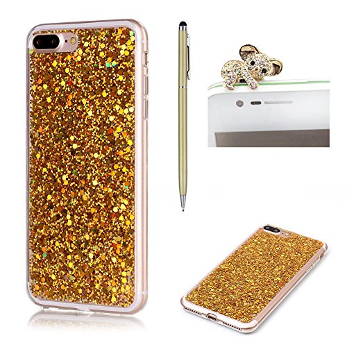 Pour iPhone 7 Plus / 8 Plus Coque,SKYXD Glitter Paillette Bling Belle Etui Luxe Housse en Case de Protection Ultra-Fine Premium TPU Silicone Souple pour Apple iPhone 7 Plus / 8 Plus (5.5 pouces),Gold Gold
