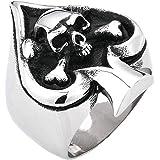 Amody Anillo Anillo gótico Poker Skull Shepherd Plata Negra Anillo de Acero Inoxidable para Hombre