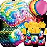70s Disco Fever Party Pack For 16 - Plates, Cups, Napkins, Balloons and Tablecovers