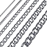 SoulCats®Königskette Panzerkette XXL Panzerarmband Set oder Einzeln Halskette Herren, Größe:5 mm;Farbe:Silber;Auswahl:Kette 60 cm