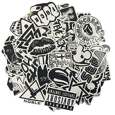 120PCS schwarzer weißer Vinylaufkleber Graffiti-Abziehbild Vervollkommnen Sie zu den Laptops, Skateboards, Gepäck, Autos, Stoßdämpfer, Fahrräder, Motorrad, Sturzhelm, Fenster, Gitarre, Snowboard, Mobiltelefon