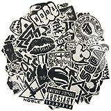 120PCS Autocollant en vinyle blanc noir Sticker Graffiti Parfait pour les ordinateurs portables, les planches à roulettes, les bagages, les voitures, les pare-chocs, les vélos, la moto, le casque, la fenêtre, la guitare, le snowboard, le téléphone portable