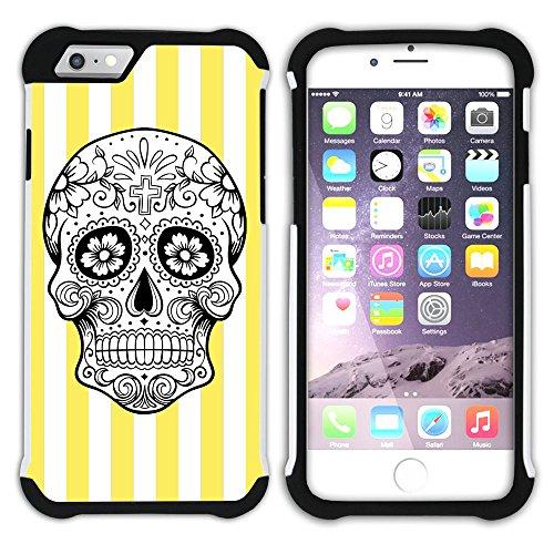 Graphic4You Mexikanische Zuckerschädel Streifenmuster (Wasserblau) Hart + Weiche Kratzfeste Hülle Case Schale Tasche Schutzhülle für Apple iPhone 6 Plus / 6S Plus Gelb