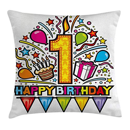 1st Birthday Decorations Throw Pillow Cushion Cover, Princess Fairy Party Theme with Wish Wand and Balloons, Decorative Square Accent Pillow Case, 18 X 18 inches, Light Pink and Lilac - Blue Satin Gold Wand