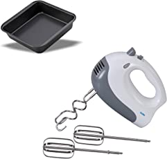 Glen4046 Hand Mixer Blender 2 Years Warranty on Motor with Alda Square Cake Tin 20cm