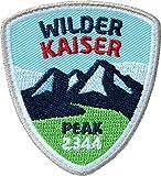 2 x Wilder Kaiser Abzeichen 55 x 60 mm gestickt / Bergtour im Kaiser-Gebirge / Wandern Bergsteigen Klettern Klettersteig / Aufnäher Aufbügler Sticker Patch / Reiseführer Wanderführer Touren-Karte