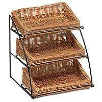 Prestige Wicker Counter Top Display Stand Three Baskets, Wood, Natural, 35 x 20 x 15 cm