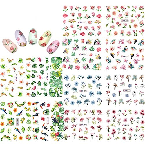 kads nail art stickers full wrap space design- fiore foglie fenicotteri nail sticker tattoo summer nail decalcomanie