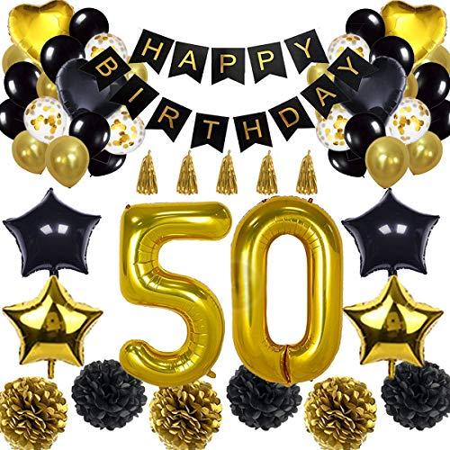 50. Geburtstag Dekorationen Ballon Banner - Happy Birthday Banner, 50. Gold Anzahl Ballons, Schwarz und Gold, Nummer 50 Geburtstag Ballons, 50 Jahre alt Geburtstag Dekoration