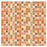 Kitchen-dream Carta da Parati a Mosaico Carta Parati per Piastrelle Bagno Cucina Servizi igienici Adesivi murali autoadesivi Impermeabili Resistenti allolio Sfondo Mosaico in PVC 2 Pezzi 1 * 0,2 m