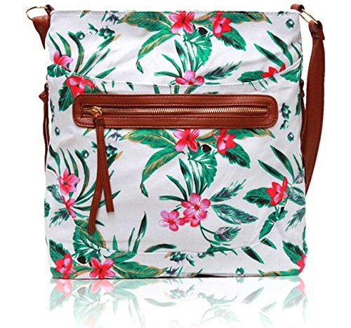ZARLA, Borsa a spalla donna White Tropical