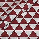Canvas Geometrisch gemustert Baumwolle Stoff Meterware Dekostoff Bezugsstoff Dreieck Muster rot weiß
