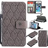 Cozy Hut iPhone 5 Hülle,iPhone 5S Hülle,iPhone SE Hülle,iPhone 5 / 5S / SE Leder Wallet Tasche Brieftasche Schutzhülle, Geprägte Stammesblumen Muster PU Leder Flip Wallet Cover in Book STYL